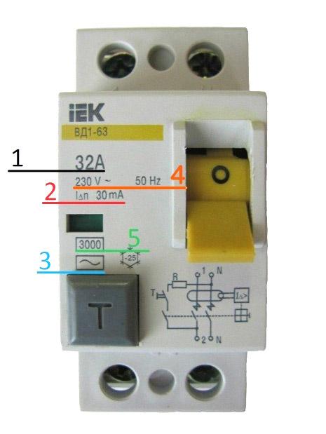 Пример обозначений автоматического выключателя